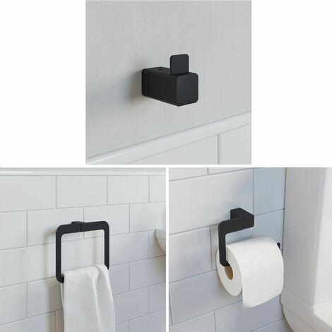Bathroom WC Set Towel Ring Toilet Roll Holder Robe Hook Black Square Wall Mount
