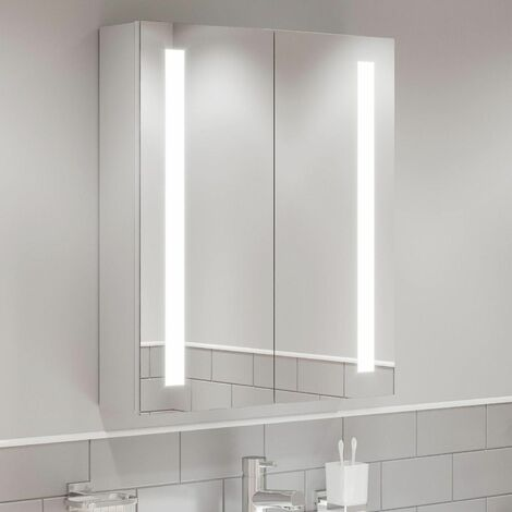 Modern Mirror Cabinet LED Illuminated Wall Mounted Shaver Socket IP44 600x700mm