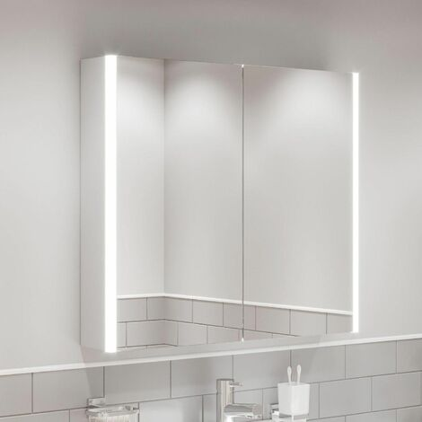 Modern Bathroom Mirror Cabinet LED Illuminated Wall Mounted IP44 800 x 700mm