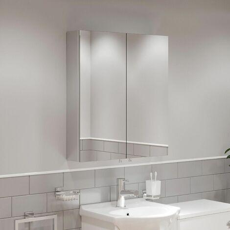Double Door Bathroom Mirror Cabinet Cupboard Stainless Steel Wall Mounted 600mm