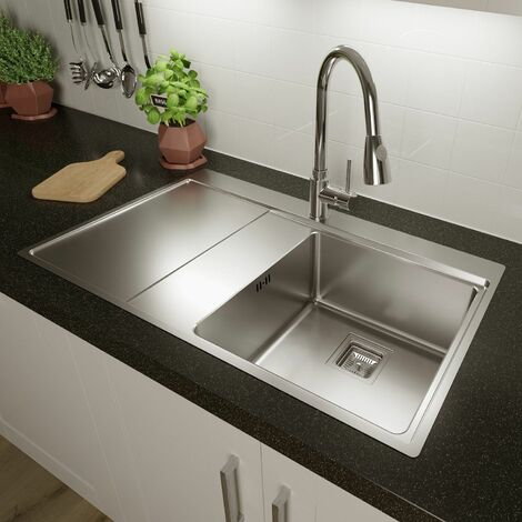 Sauber Single Bowl Square Inset Stainless Steel Kitchen Sink Left Hand Drainer