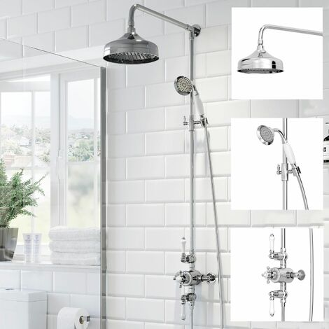 Traditional Thermostatic Mixer Shower Crosshead Valve Round Drench Head