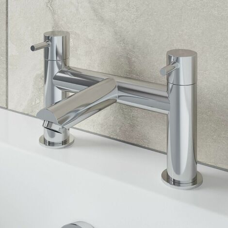 Modern Bathroom Bath Filler Mixer Tap Brass Deck Mounted Round Chrome Twin Lever