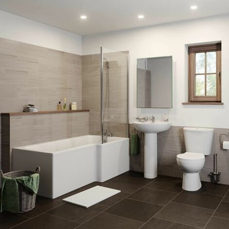 Essentials L Bathroom Suite with Right Hand Bath