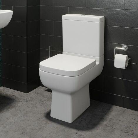 Close Coupled Toilet WC Modern Square Ceramic Soft Close Seat Pan
