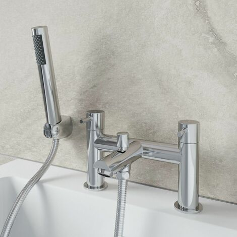 Modern Bathroom Bath Shower Mixer Tap Handset & Hose Deck Mounted