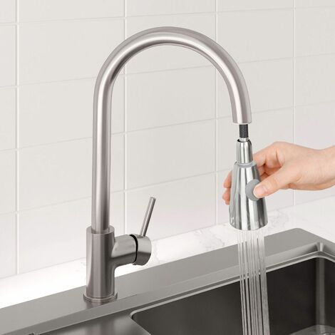 Sauber Baden Pull Out Kitchen Mixer Tap - Brushed