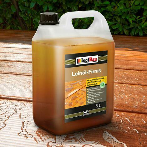Natürliches LEINÖL- FIRNIS 5 L Holzöl Leinöl Firnis Harzfrei Holzschutz Gekocht