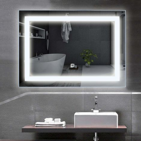 COSTWAY LED-Spiegel 70 x 50cm, Badspiegel mit Beleuchtung, Wandspiegel mit Touchschalter, Lichtspiegel fuers Badezimmer, Badezimmerspiegel kaltweiss