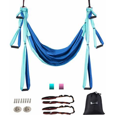 COSTWAY Aerial Yoga Haengematte, Yoga Schaukel, Air Fliegen Haengematte Set, Yogatuch mit Montagezubehoer