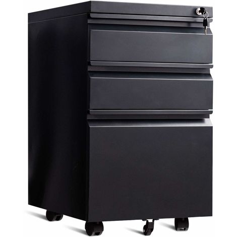 COSTWAY Rollcontainer mit 3 Schubladen, Bueroschrank Metall, Aktenschrank abschliessbar, Buerocontainer mit Kippschutzrad Schwarz