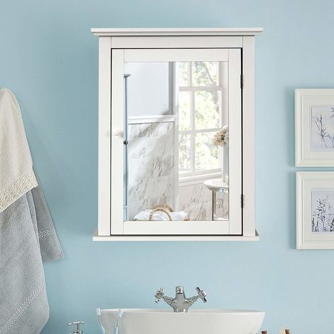 COSTWAY Spiegelschrank Bad, Wandschrank mit Spiegel, Badezimmerspiegelschrank weiss, Haengeschrank Holz, Badezimmerspiegel mit verstellbarem Regal, Medizinschrank Mehrzweckschrank