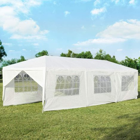 COSTWAY 3x9m Gartenpavillon Partyzelt mit 8 Seitenw?nde, Faltpavillon Bierzelt UV-Schutz, Gartenzelt faltbar, Faltzelt Pavillon