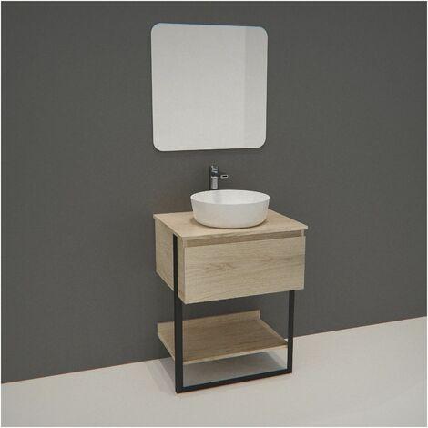 Meuble de Salle de bain 60 cm Bois et Métal + Vasque Ronde Blanche + Miroir - NINA - Bois clair