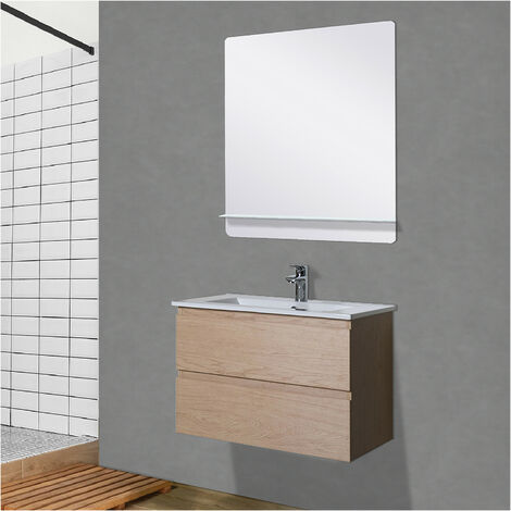 Meuble Salle de Bain 60 cm Suspendu décor Chêne + Miroir SORRENTO - Bois clair
