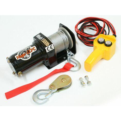 Varan Motors - var-p1500-1 Treuil électrique 12V 680Kg / 1360Kg 520W, Treuil à câble longueur 15m Ø4mm - Noir