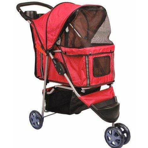 Bc-elec - 5663-0015Ared Poussette pour animaux à 3 roues, coloris rouge - Rouge