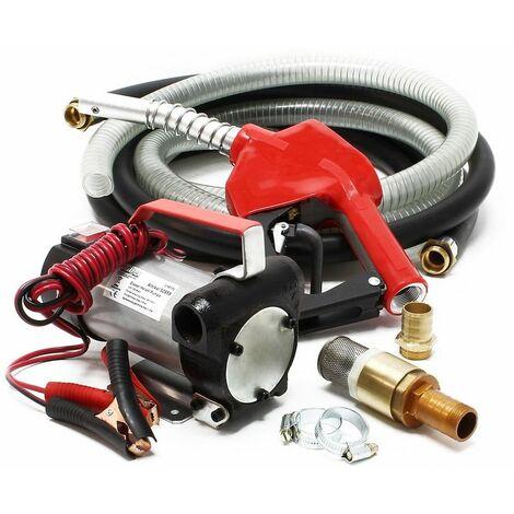 Varan Motors - CYB150 Pompe à fuel diesel gasoil 12V 40l/min 160W avec crépine, pistolet automatique et clapet anti retour, pompe de transfert - Rouge