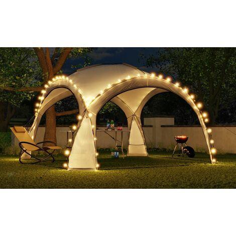 Bc-elec - HOPW-LED35G Tonnelle de jardin 3.5x3.5m avec éclairage LED et capteur solaire. Tente de fête, Pavillon de Jardin, Chapiteau - Gris