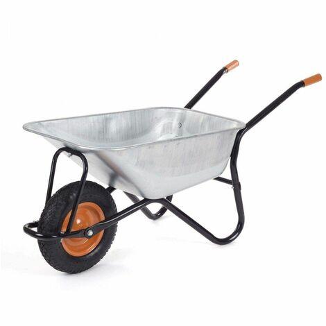 Varan Motors - WB5009 Brouette renforcée brouette de chantier ou jardin, 100 litres max 200kg - Gris