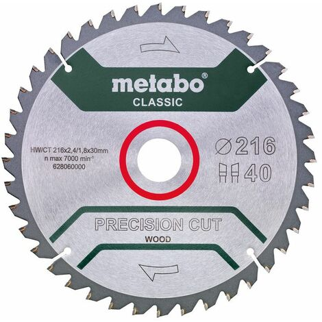 Metabo Lame de scie 'Precision cut wood - Classic', 216x30, Z40 WZ 5° nég. - 62806000