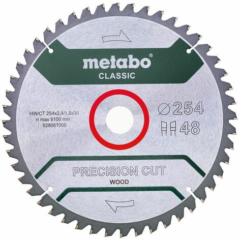 Metabo Lame de scie 'Precision cut wood - Classic', 254x30, Z48 WZ 5° nég. - 62806100