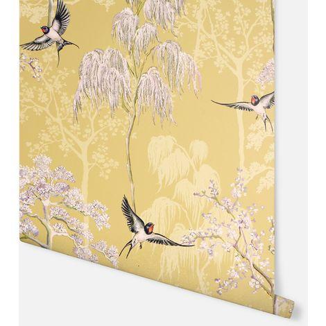 Japanese Garden Ochre Wallpaper - Arthouse - 908002