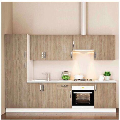Cocina completa 3 metros color roble KIT-KIT Complementos con zócalo y encimera