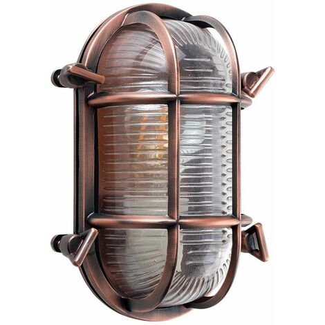 Ip64 Rated Cross-Cased Metal Outdoor Bulkhead Wall Light - Copper