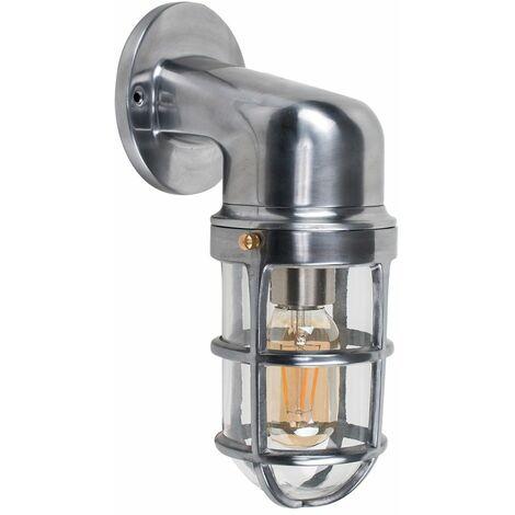 Stylish IP44 Rated Aluminium Metal Outdoor Wall Fisherman Light Lantern - Polished Aluminium
