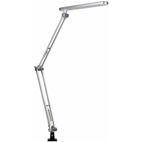 Brushed Silver Portable & Adjustable Metal Neck Table Clamp Clip On Desk Spotlight Reading Lamp + 6W LED Bulb