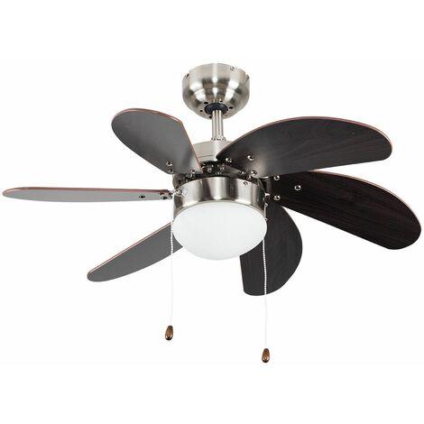"Chrome & Wood 30"" / 76Cm 6 Blade Ceiling Fan With Flush Light"