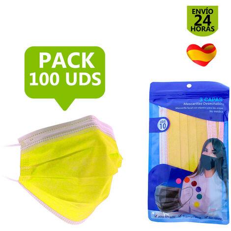 Mascarilla higiénica de colores de 3 capas. Pack de 50 y 100 uds