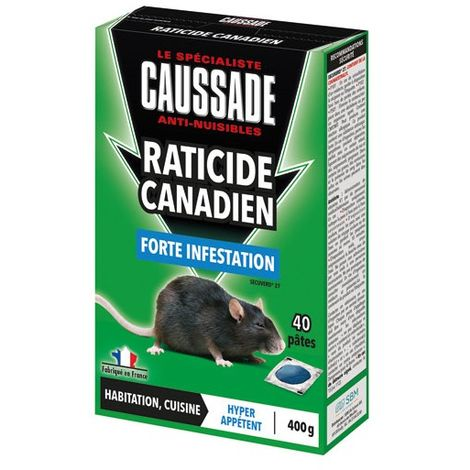 CAUSSADE - Pat'appât raticide canadien - 400 g - lot de 40 pâtes
