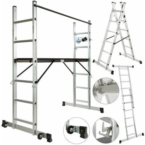 AREBOS Andamio de Aluminio Escalera de Aluminio Andamio de Trabajo con Ruedas - Silber