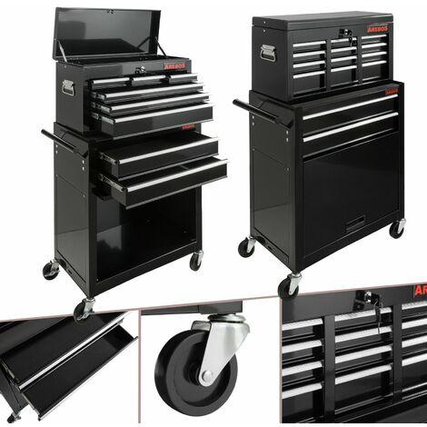AREBOS Carro para herramientas con 9 compartimentos Negro - negro