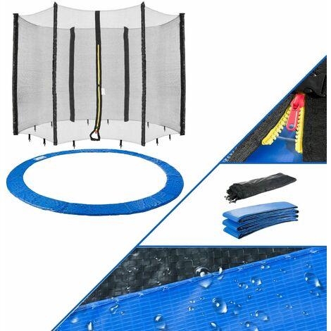 AREBOS Borde de Cama Elástica + Red Protección de los Bordes 244 cm 6 Barras - Azul