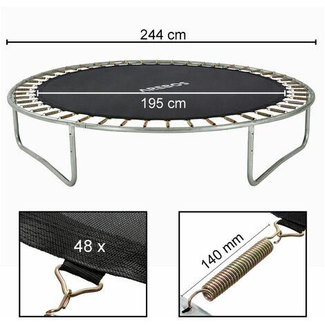 AREBOS Lona de salto de diámetro 195cm para trampolin de diámetro 244cm y 48 resortes a los 135mm de langitud - negro