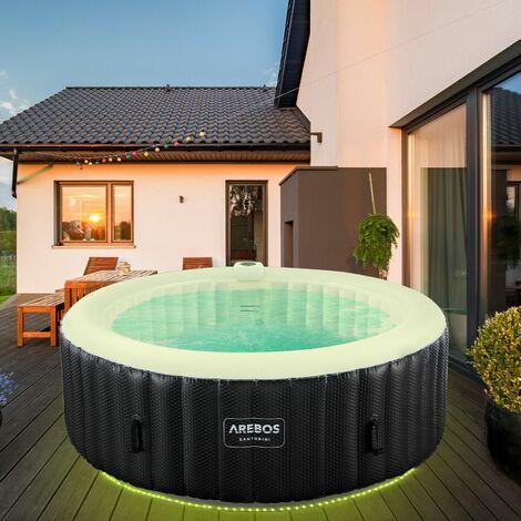 AREBOS In-Outdoor Whirlpool Spa Piscina Benessere Gonfiabile Rotondo Con LED