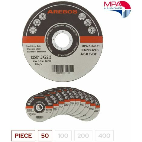 Arebos Disco da taglio confezione di 50/100/200/400 - in acciaio inox - dimensioni 125 x 1 x 22,23 mm