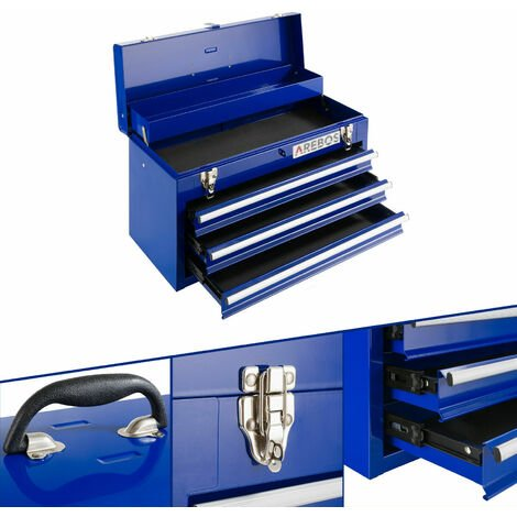 Arebos Cassetta degli Attrezzi 3 Cassetti Blu