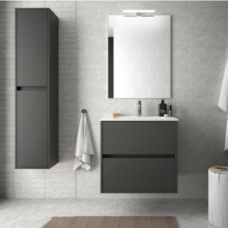 Badezimmer Badmöbel 60 cm aus mattgrauem Holz mit Porzellan Waschtisch