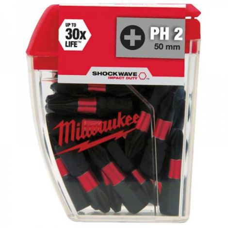 MILWAUKEE GEN2 PH2 X 25MM IMPACT BITS - PK25