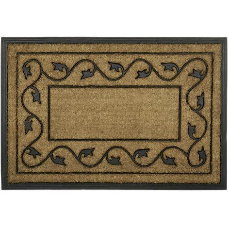 Fußmatte groß aus natürlichem Kokos und rutschfestem PVC Gummi als Fußabtreter für Innen & Außen mit dekorativem Muster als umweltfreundliche Kokosmatte rechteckig HBT 2 x 90 x 60 cm, natur