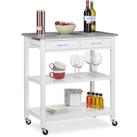 Küchenwagen, moderner Servierwagen m. Arbeitsplatte, Landhausstil, 2 Ablagen, 2 Schubladen, 87x78x48,5cm, weiß