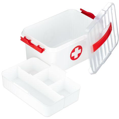 Medizinbox, Einlegefächer, Erste Hilfe Box zur Medikamentenaufbewahrung, Kunststoff, HBT: 21x30x14,5 cm, weiß