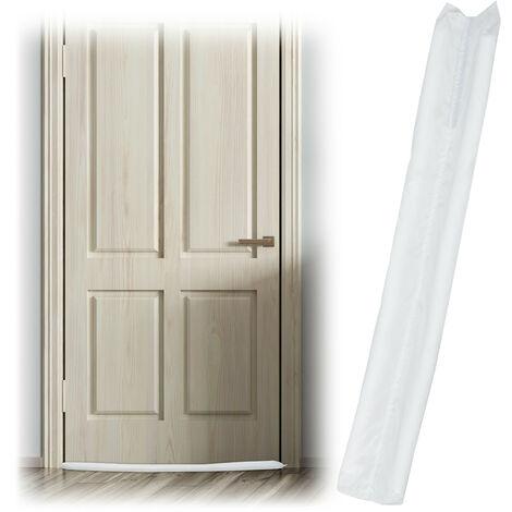 Zugluftstopper für Türen, beidseitig, Türrolle gegen Zugluft & Kälte, Stoff, Türluftstopper, 90 cm lang, weiß