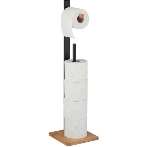 Toilettenpapierhalter stehend, Bambus, mit Ersatzrollenhalter, 5 Rollen, HxBxT: 71x19x19 cm, schwarz-natur