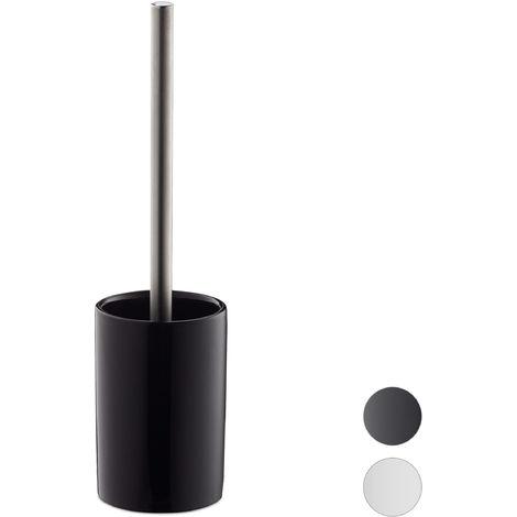 1 x WC-Garnitur Keramik, WC-Bürstenhalter mit Toilettenbürste, Wechselbürstenkopf, rund, freistehend, 36 cm, schwarz