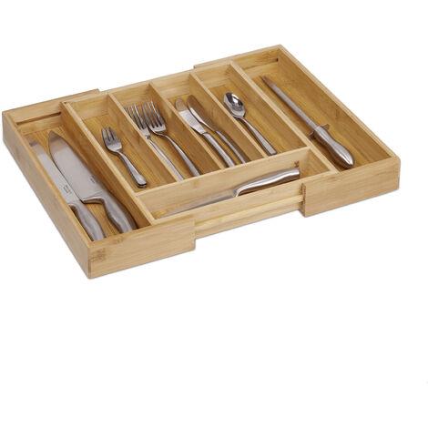 Range-Couverts extensible en Bambou de 5 à 7 compartiments HxlxP : 5 x 48,5 x 37 cm tiroir de cuisine ajustable de 31 à 48,5 cm organiseur de tiroir réglable pratique, nature